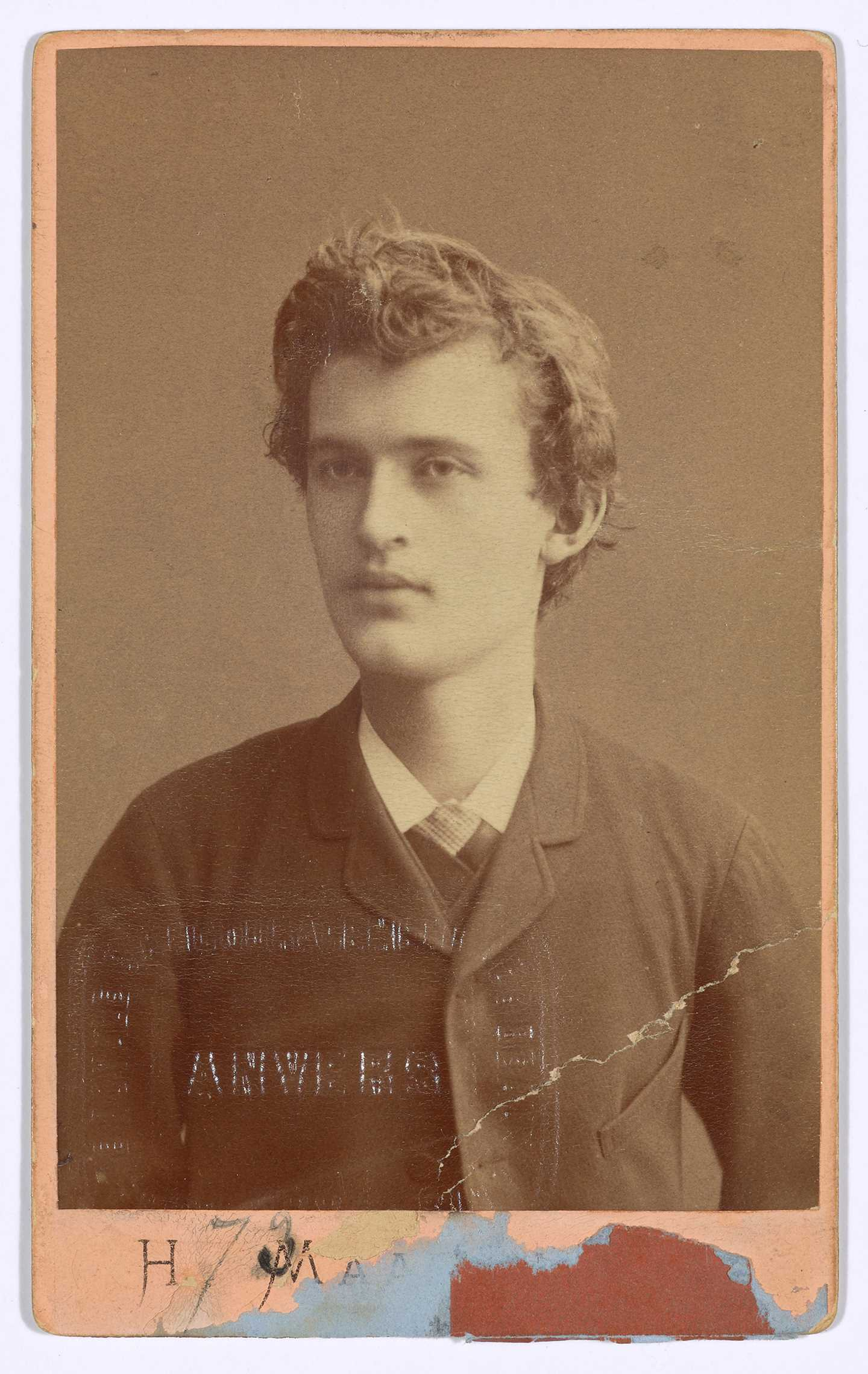 Portrait of Edvard Munch. Admission card for Exposition Universelle des Beaux Arts, Antverpen, 1885. Foto © Munchmuseet