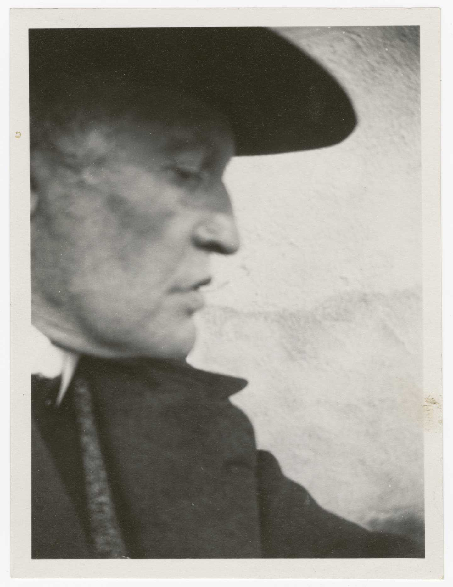Edvard Munch: Self-Portrait with Hat (Left Profile) at Ekely. Silver Gelatine, 1930. Photo © Munchmuseet
