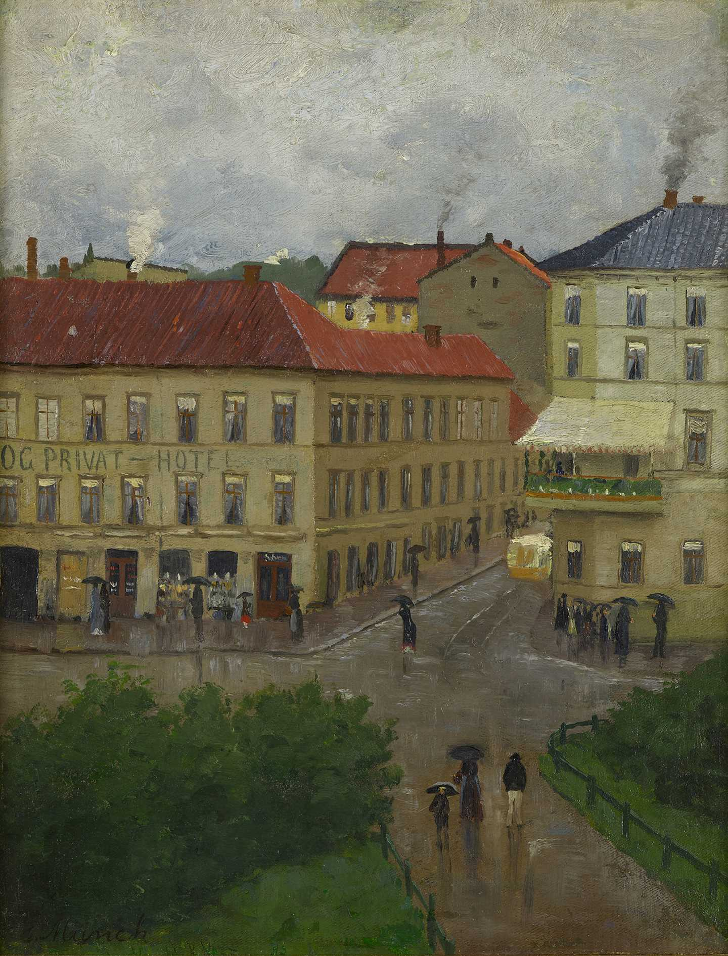 Edvard Munch: Street Corner on Karl Johan, Grand Café. Oil on canvas, 1883. Photo © Munchmuseet