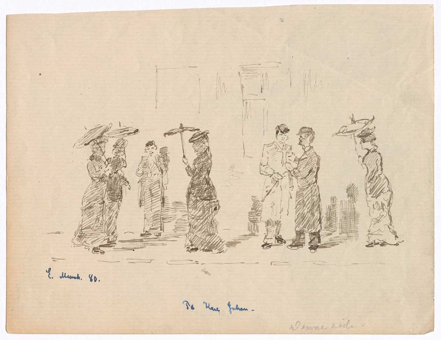 Edvard Munch: At Karl Johan. Pen on paper, 1880. Photo © Munchmuseet