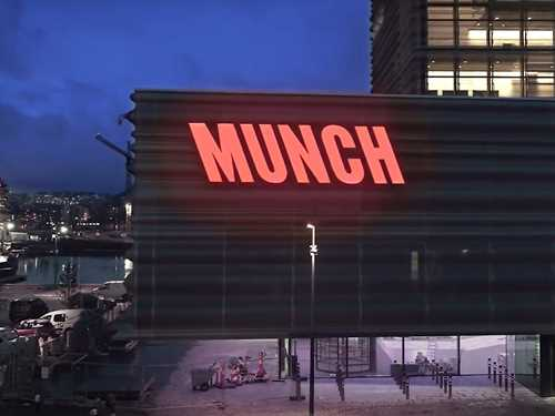 The new sign on MUNCH in Bjørvika