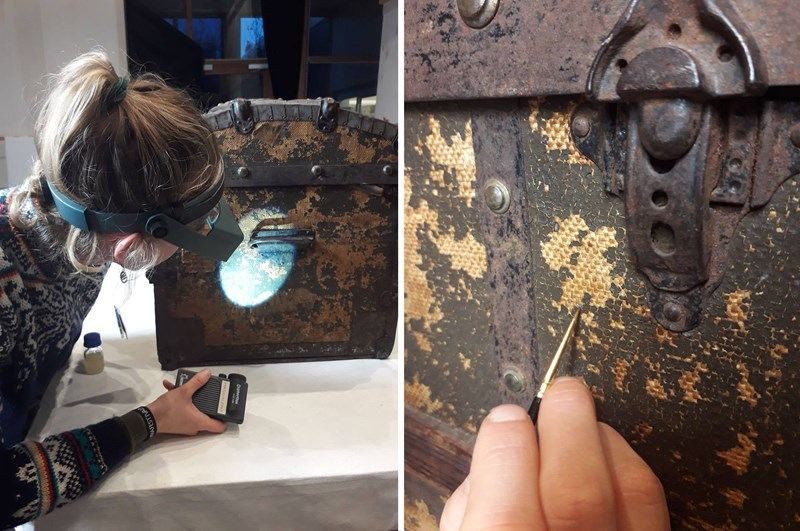 Paper conservator Cosima Walter working on conservation of Edvard Munch's traveø chest. Photo © Munchmuseet