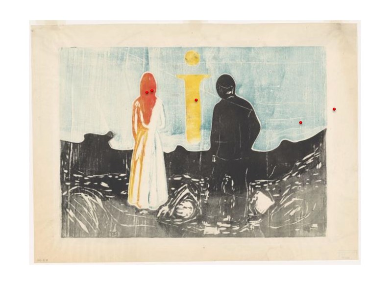 MM.G.00601-19 Two human beings. The lonely ones (1899). Colour woodcut. 5 points of measurement in red. Photo: ©Munchmuseet