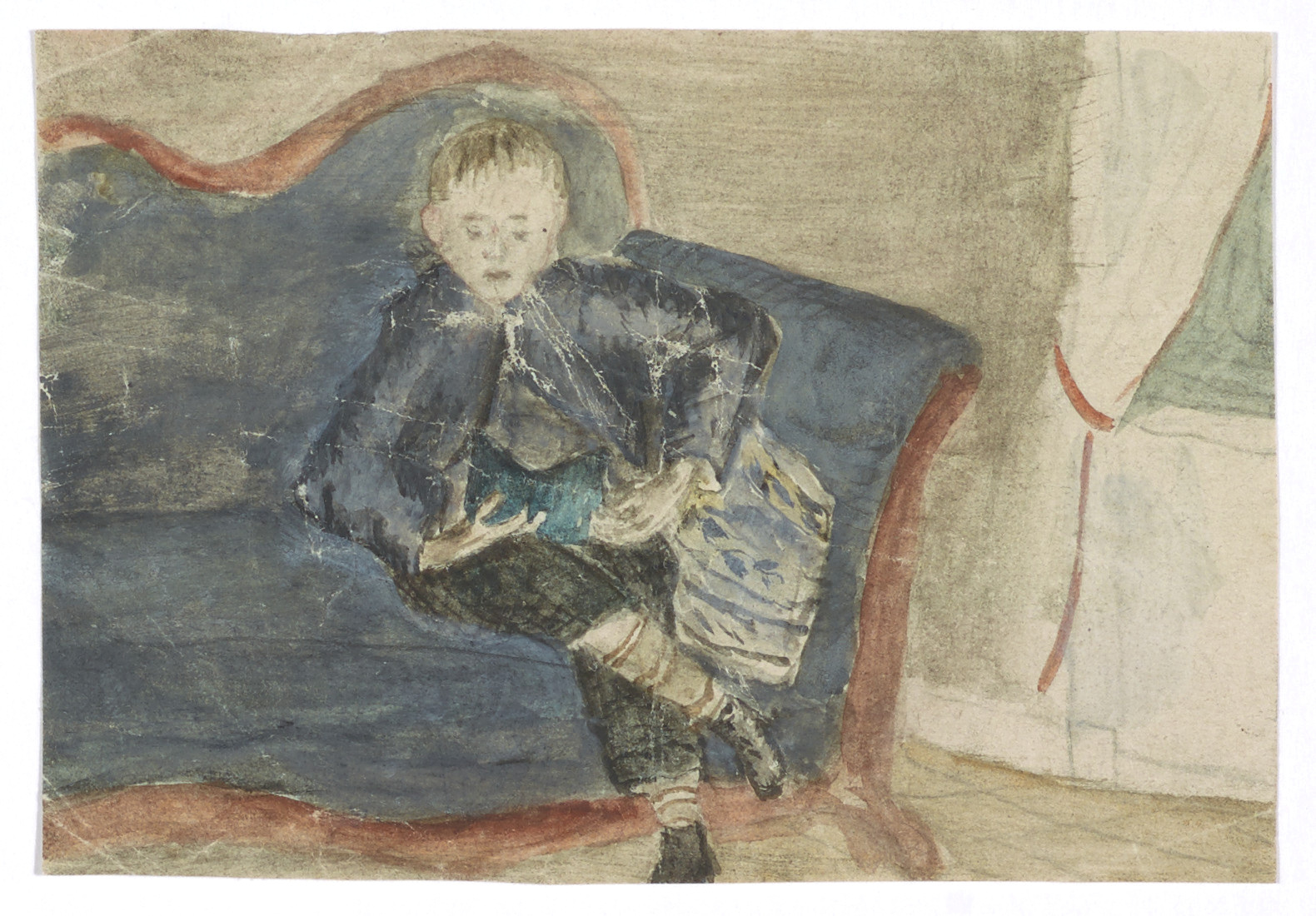 Edvard Munch: Andreas on the couch. Watercolour and pencil. 1875. Photo © Munchmuseet
