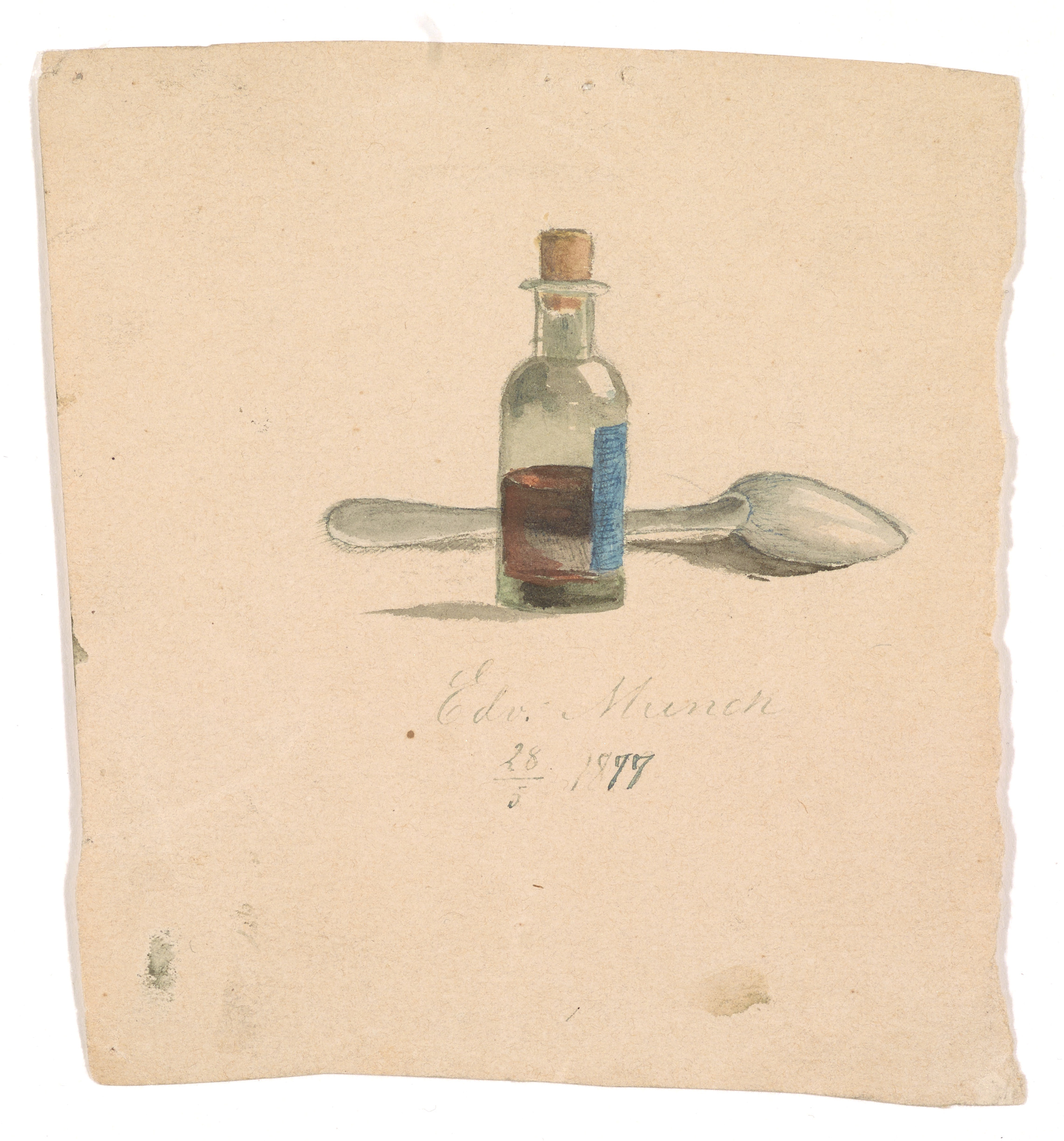 Edvard Munch: Medicine bottle and spoon. Watercolor on paper, 1877. Photo © Munchmuseet
