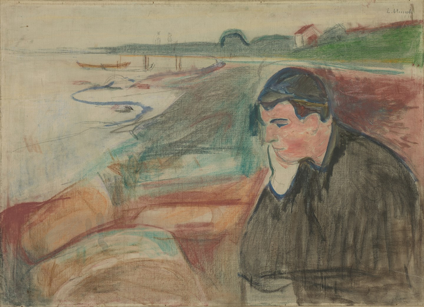 Edvard Munch: Evening. Melancholy. Oil, pencil and color pen on canvas, 1891. Photo © Munchmuseet