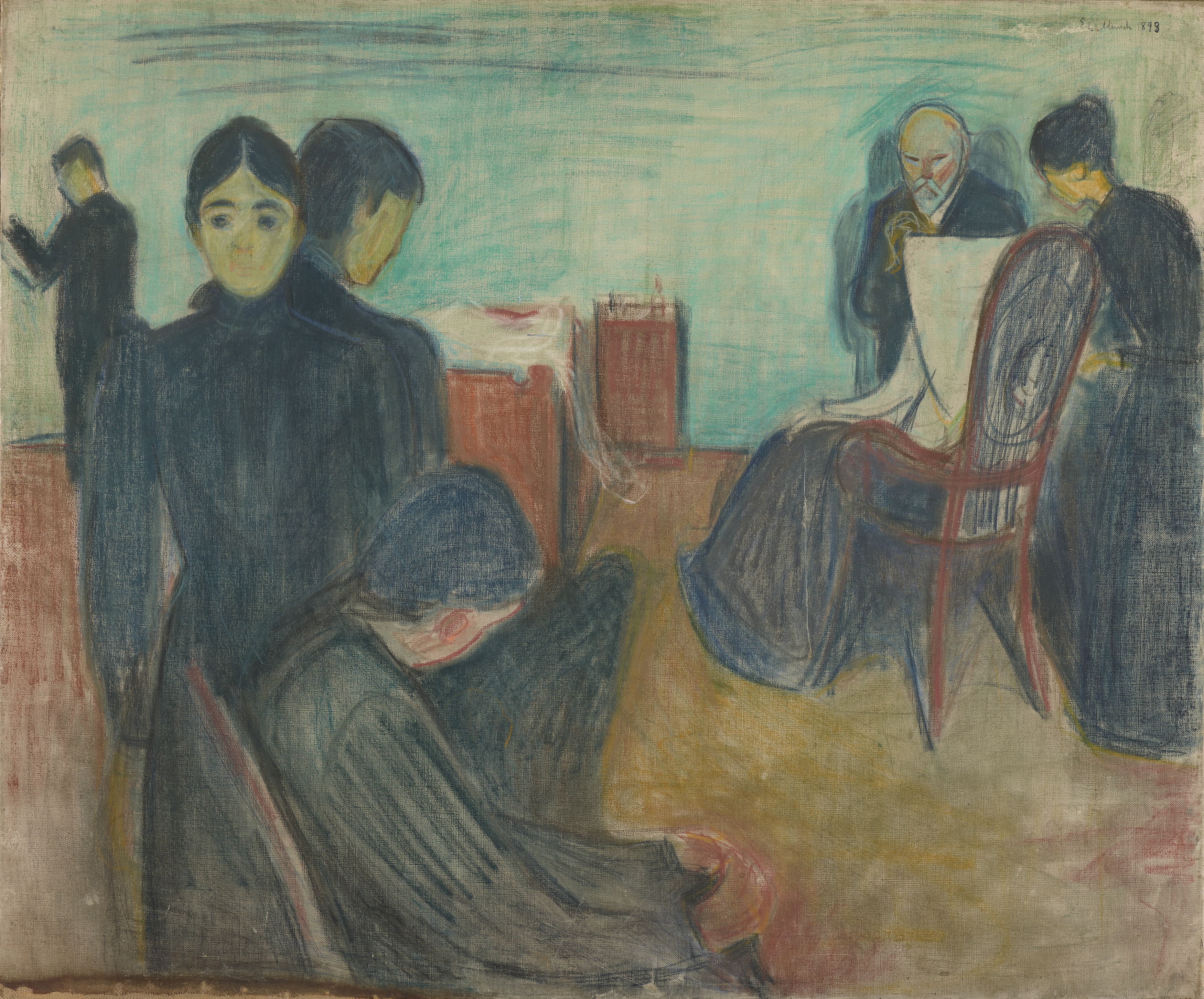 Edvard Munch: Death in the Sickroom. Pastel on canvas, 1893. Photo © Munchmuseet