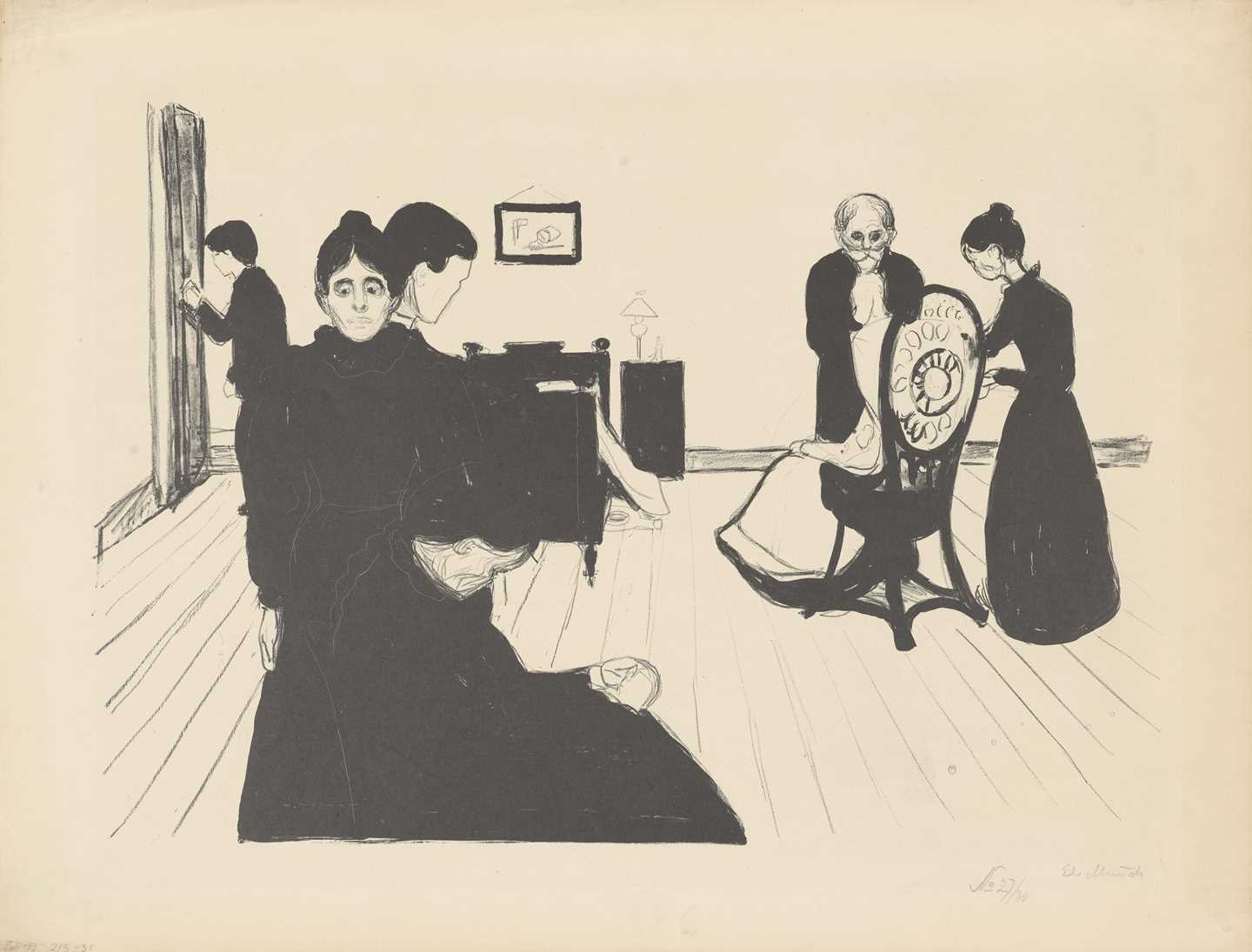 Edvard Munch: Death in the Sickroom. Lithograph, 1896. Photo © Munchmuseet