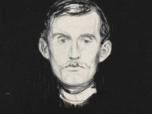 Edvard Munch: Self-portrait. Lithograph, 1985. Photo © Munchmuseet