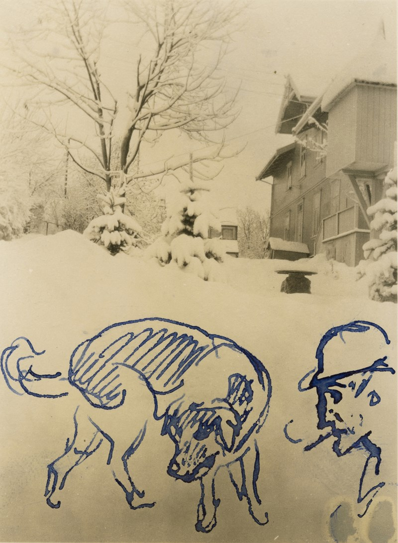 Edvard Munch: The villa at Ekely in the snow I. Photograph with drawing, 1927. Photo © Munchmuseet