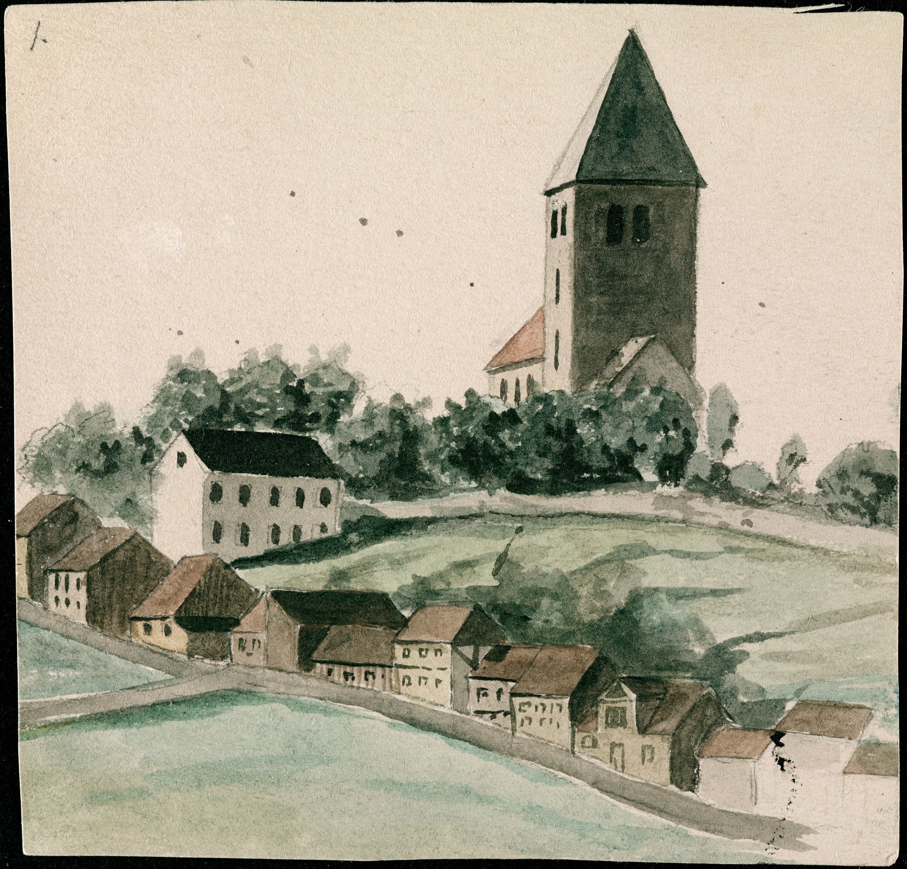 Edvard Munch: Gamle Aker kirke and Telthusbakken, watercolour, 1877. Photo © Munchmuseet