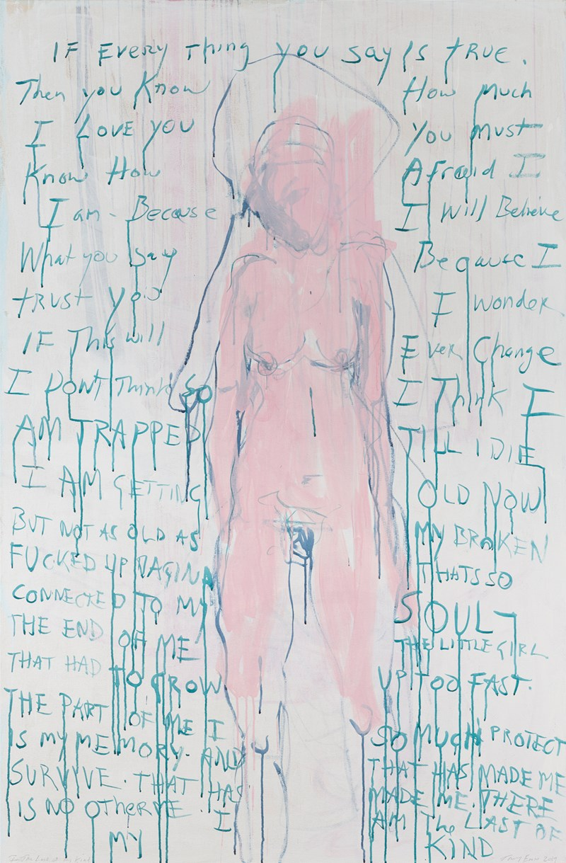 Tracey Emin, I Am the Last of My Kind (2019). 182.3 × 120 cm.