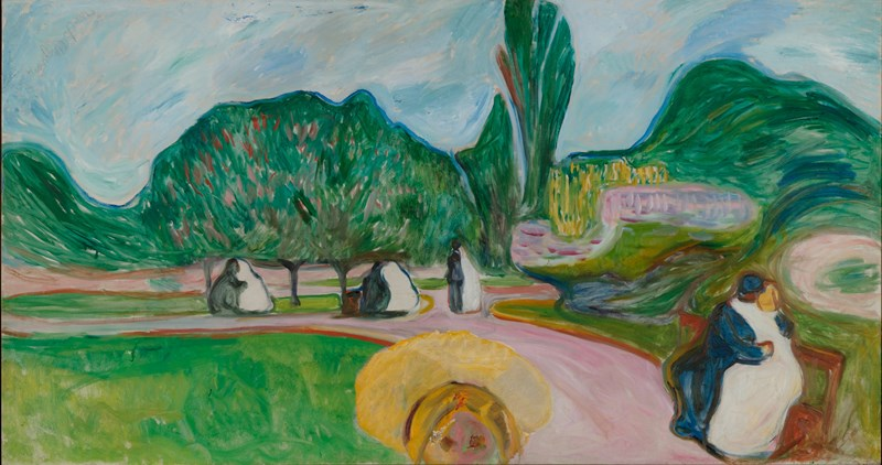 Edvard Munch: Kissing Couples in the Park (The Linde Frieze). Oil on canvas, 1904. Photo © Munchmuseet