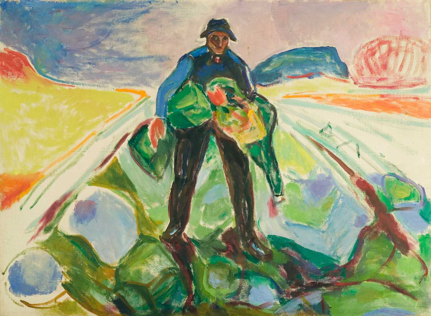 Edvard Munch: The Man in the Cabbage Field. Oil on canvas, 1943. Photo © Munchmuseet