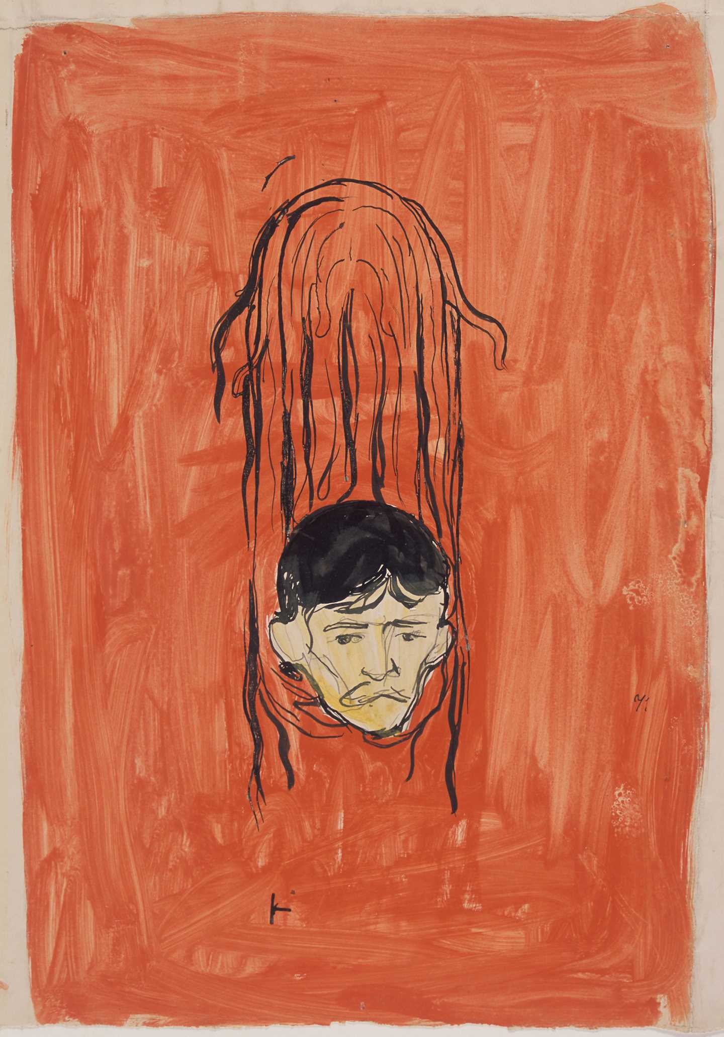 Edvard Munch, Self-Portrait in Woman's Hair: Salome Paraphrase. Gouache, brush, pencil, 1894-1898. Photo: Munchmuseet.