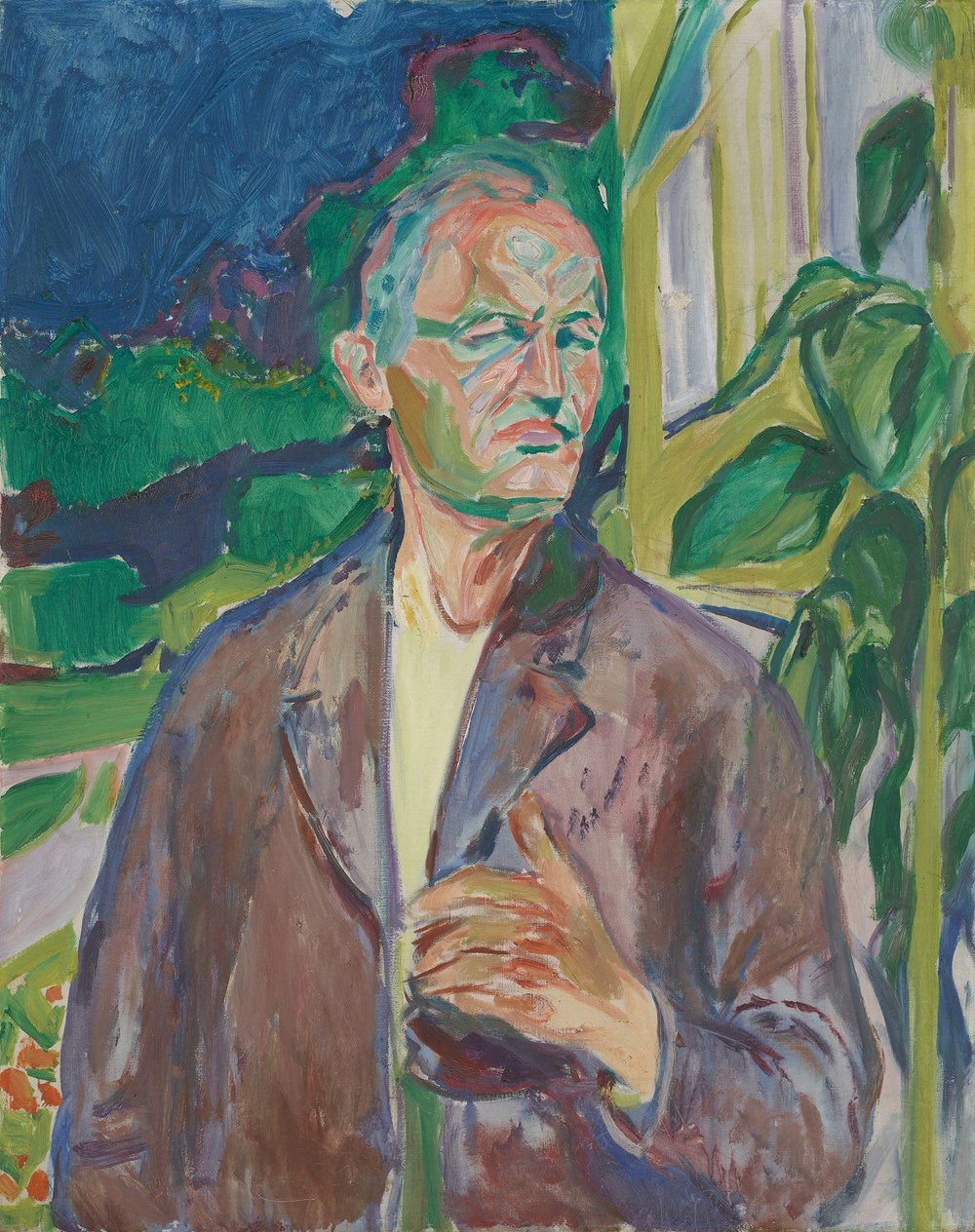 Edvard Munch: Self-Portrait in Front of the House Wall. Oil on canvas, 1926. Photo © Munchmuseet