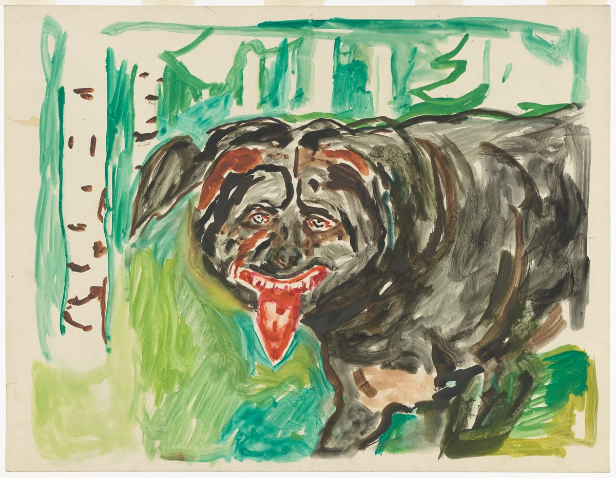 Edvard Munch: Angry dog. Watercolour, 1938–43. Photo © Munchmuseet