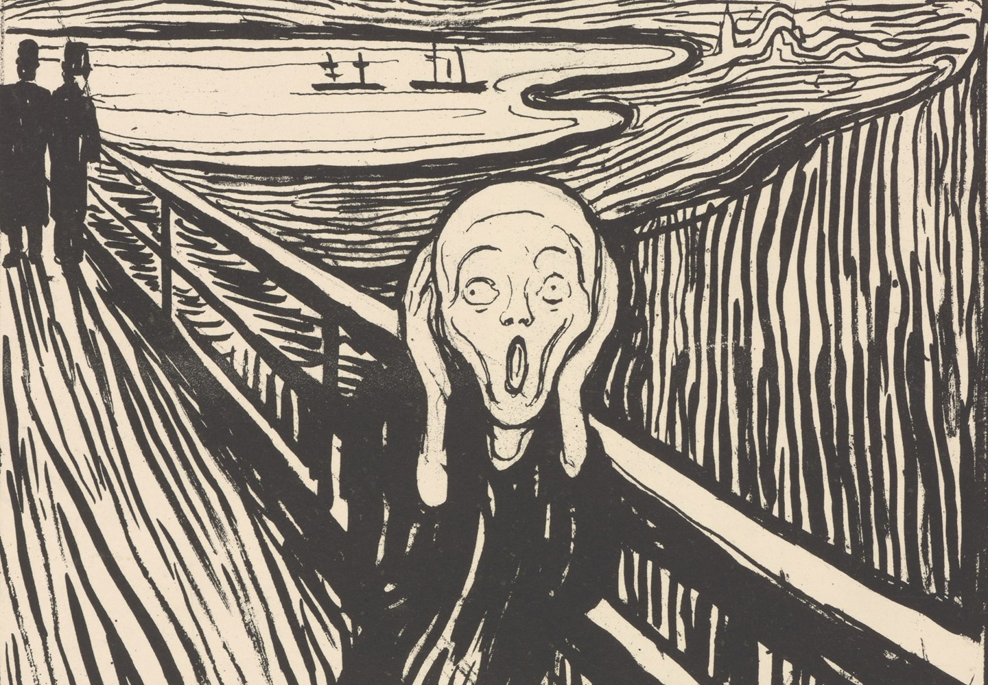 Crop of Edvard Munch: The Scream. Lithograph, 1895. Photo © Munchmuseet