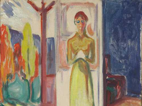 Edvard Munch: Woman Standing in the Doorway. Oil on cardboard, 1906–07. Photo © Munchmuseet