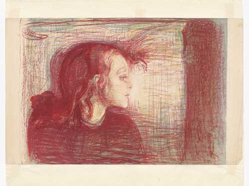 Edvard Munch, The Sick Child I. Lithograph, 41.4 x 58.8 cm, 1910. Photo: Munchmuseet