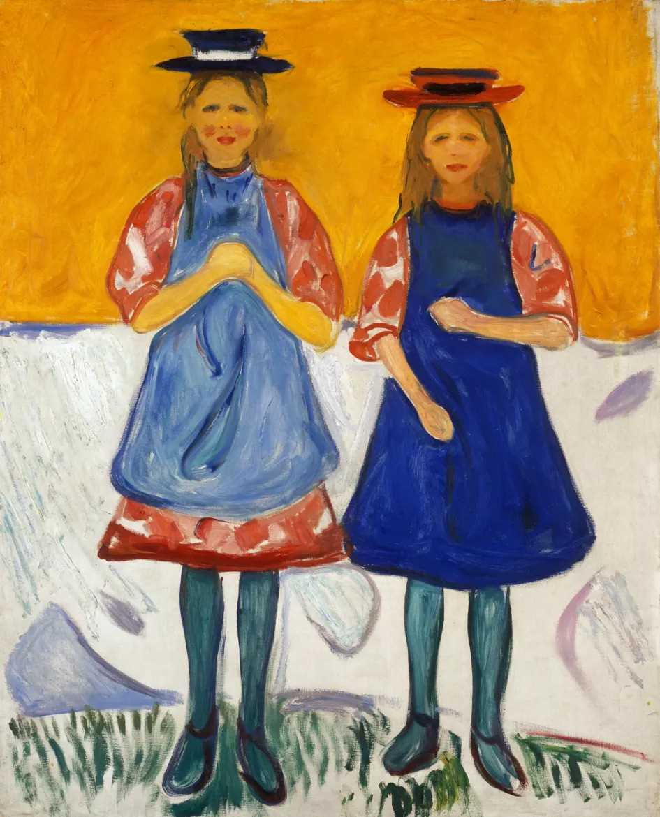Edvard Munch, Two Girls with Blue Aprons. Oil on canvas, 1904-05. Photo © Munchmuseet